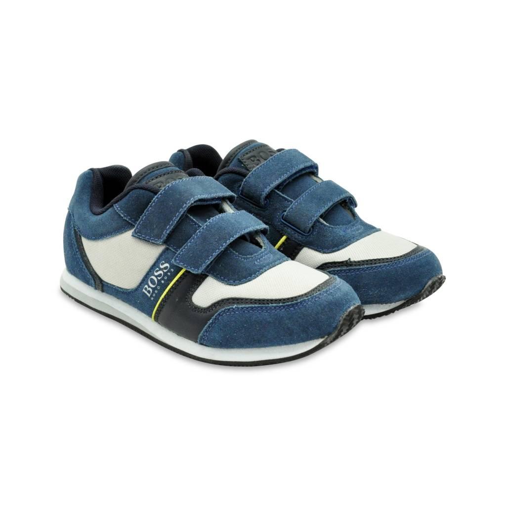 1e4ccab87c2 HUGO BOSS - Low-Top Suede Velcro Trainers - J29137 - BOYS & GIRLS ONLINE