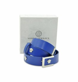 YOUNG VERSACE Leather Belt With Medusa Studs