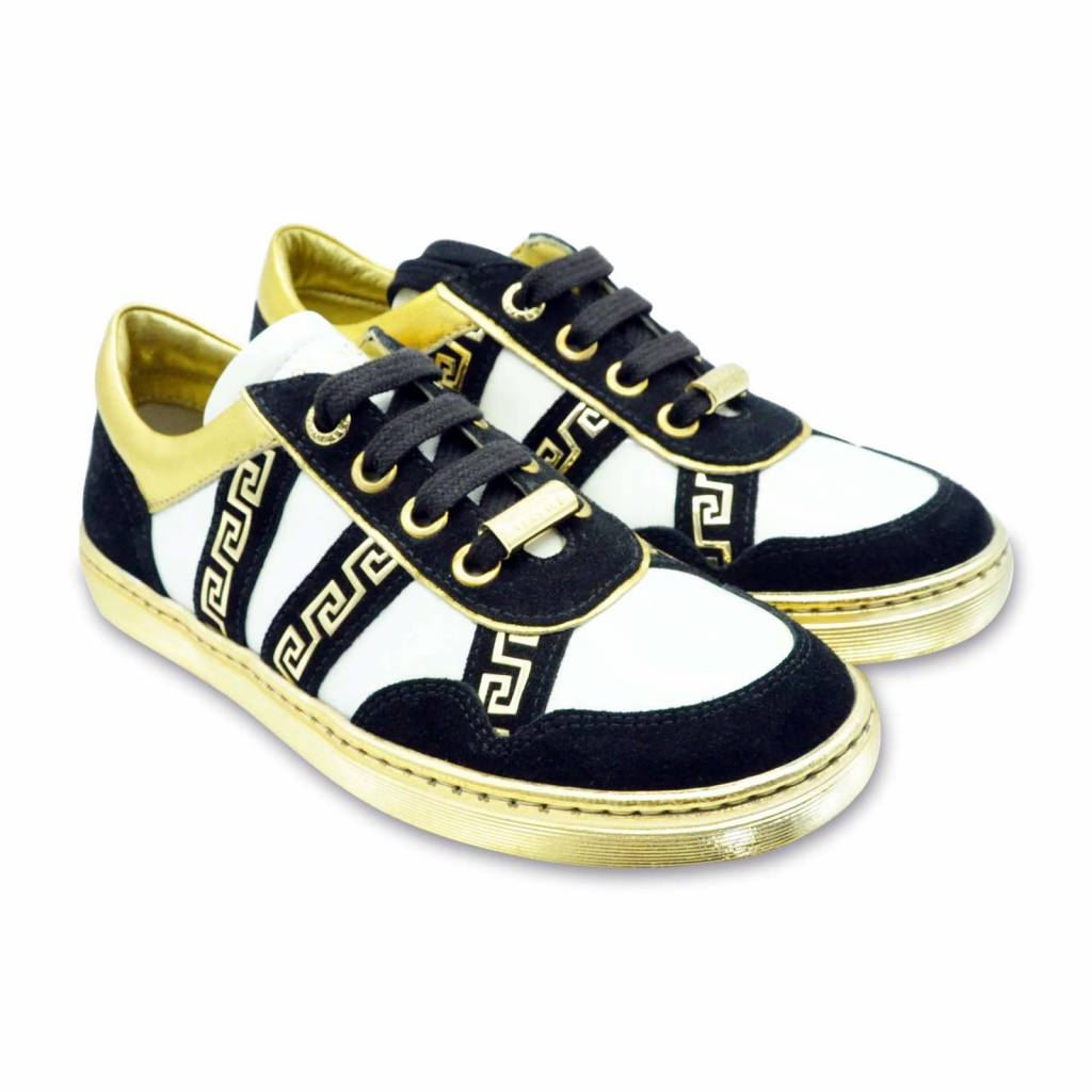 YOUNG VERSACE Bright White-Gold Sneakers