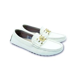 YOUNG VERSACE White Leather Moccasin Shoes