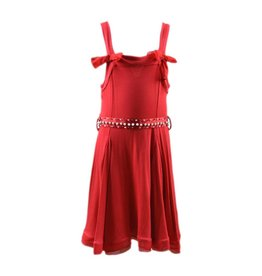 Artigli Red Summer Dress with Bows