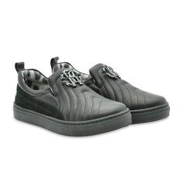 Roberto Cavalli Black Leather Slip-on Shoes