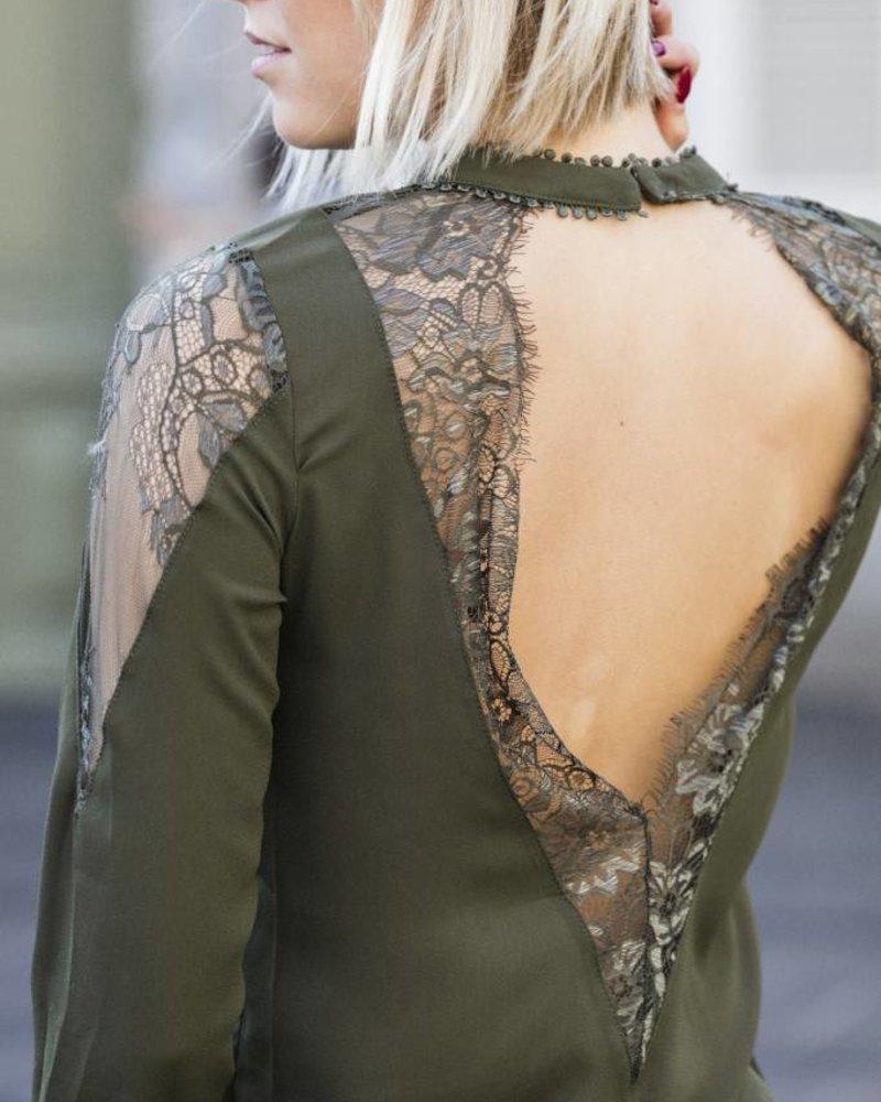 Open Lace Back Kaki