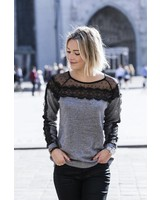 Grey Sweater Black Lace