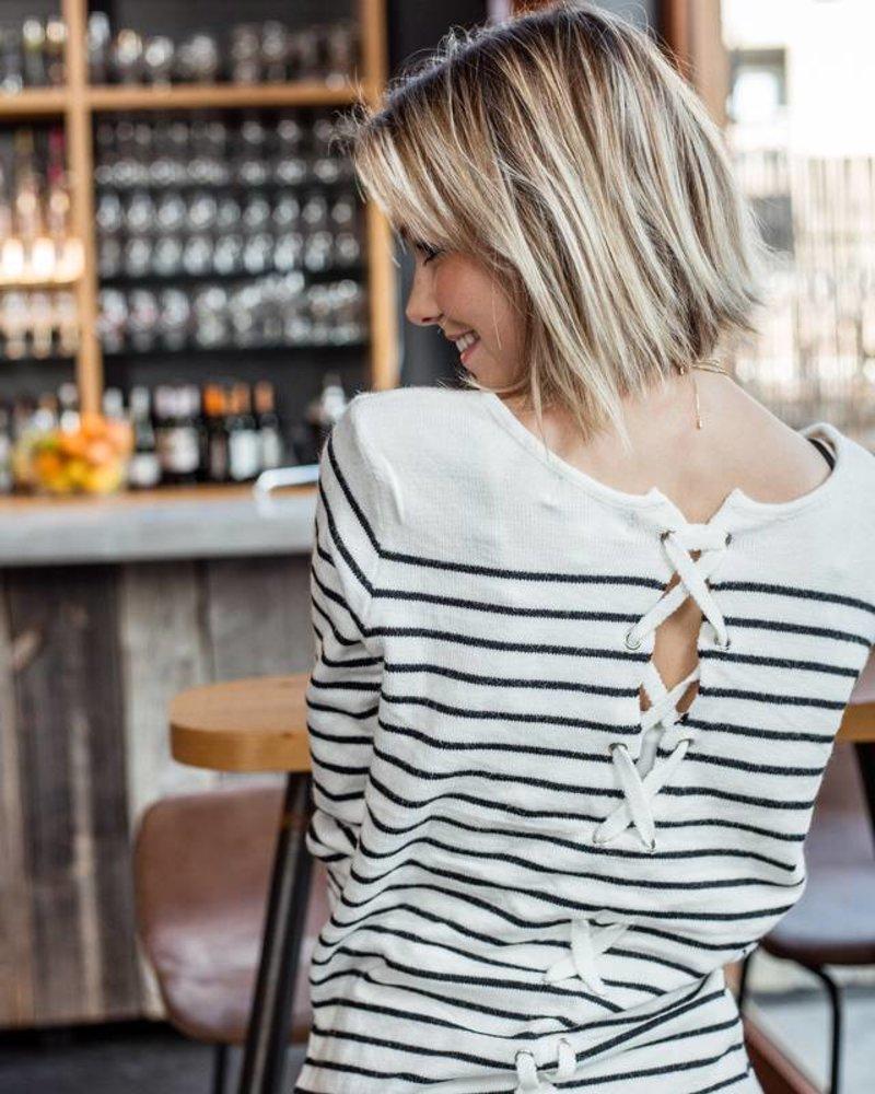 Stripes & Laces White