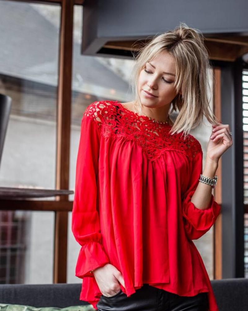 Lace on top Red