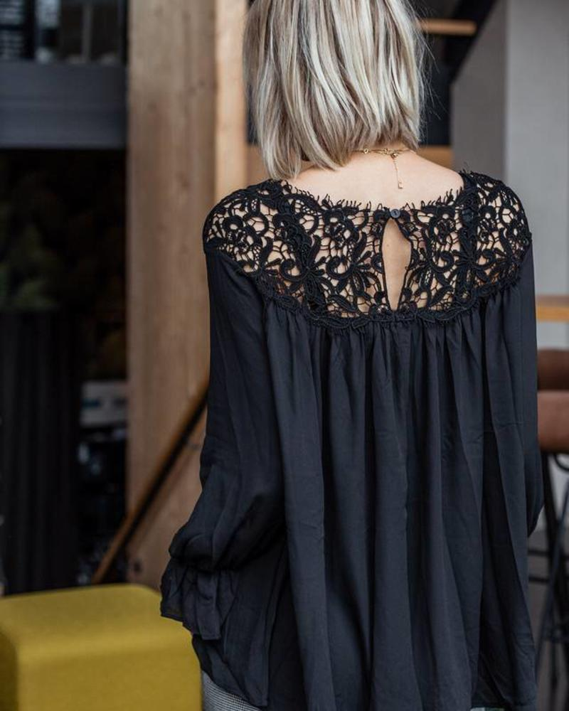 Lace on top Black