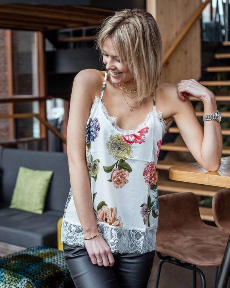 Flower Satiny Top White