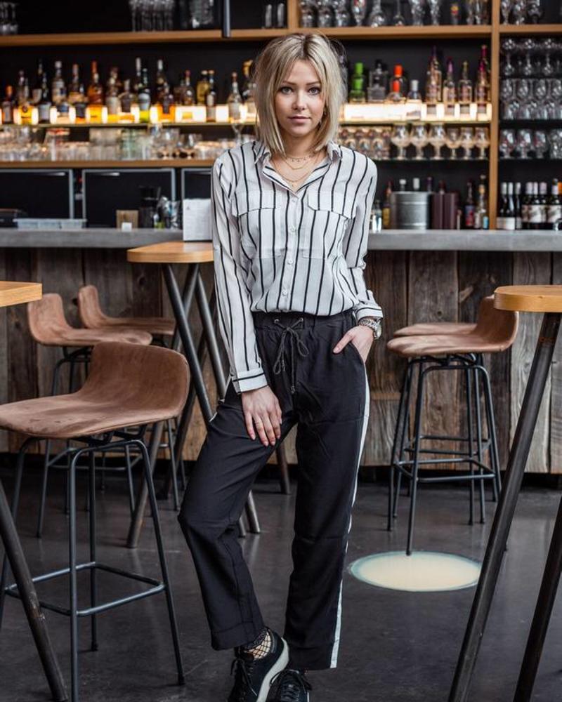 Casual White Stripe Pants