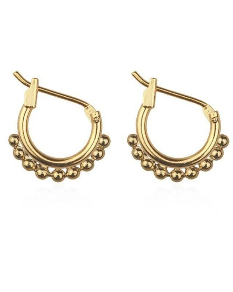 Small Round Drop Hoops - Gold
