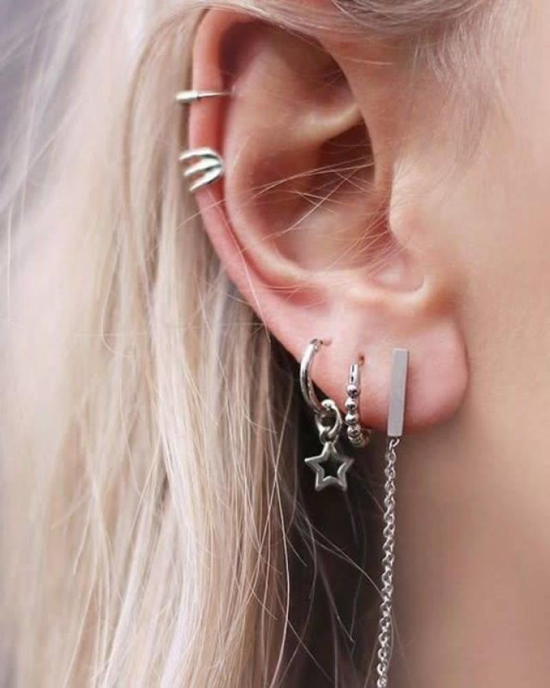 Small Round Drop Hoops - Silver