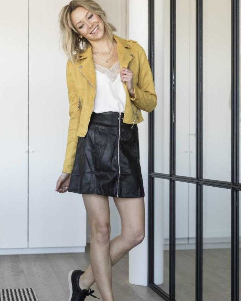 Zip Leather Skirt