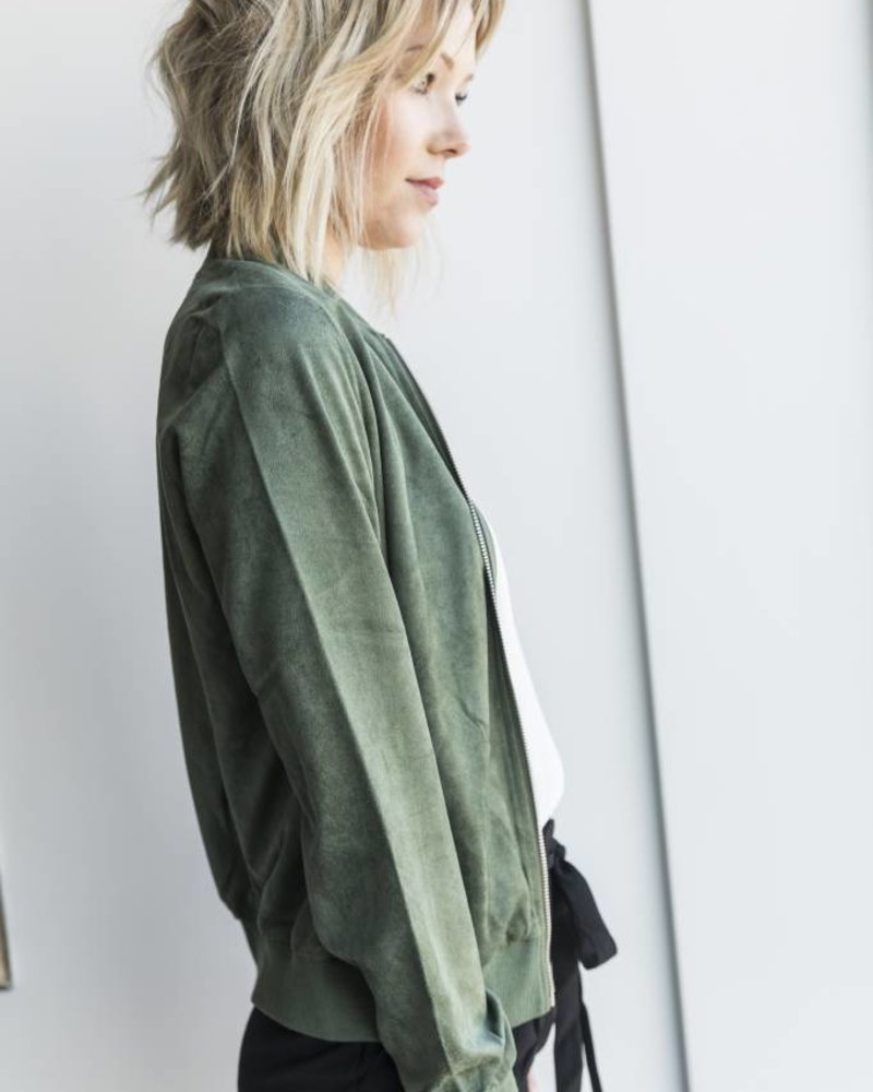 Suede Bomber Green