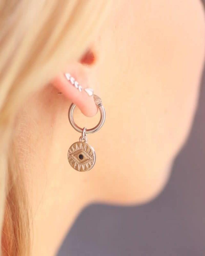 Charm Earring Coin Eye Silver