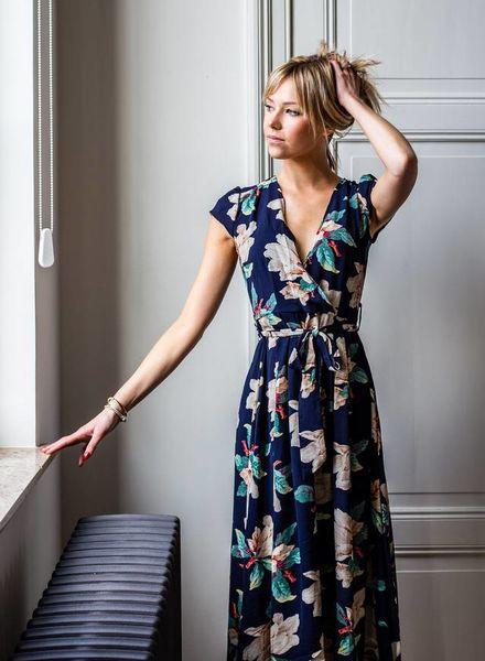 Navy Flower Maxi Dress