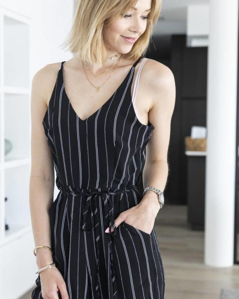 Black White Striped Jumpsuit