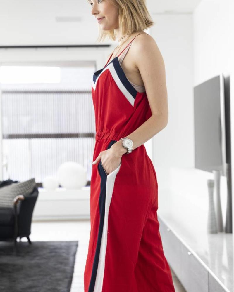 Sporty Casual Jumpsuit Red