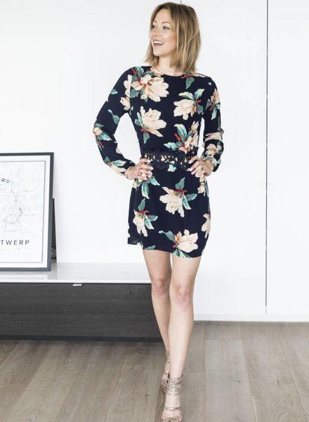 Navy Flower Lace Dress
