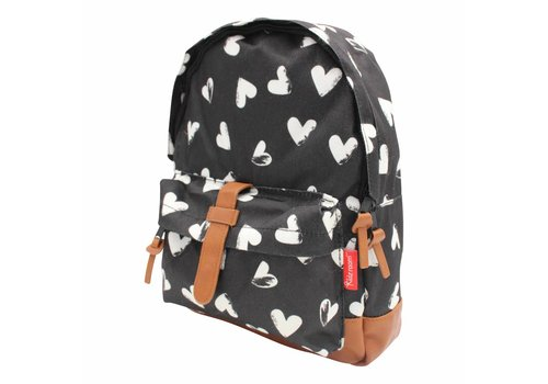 Kidzroom Black backpack with white hearts