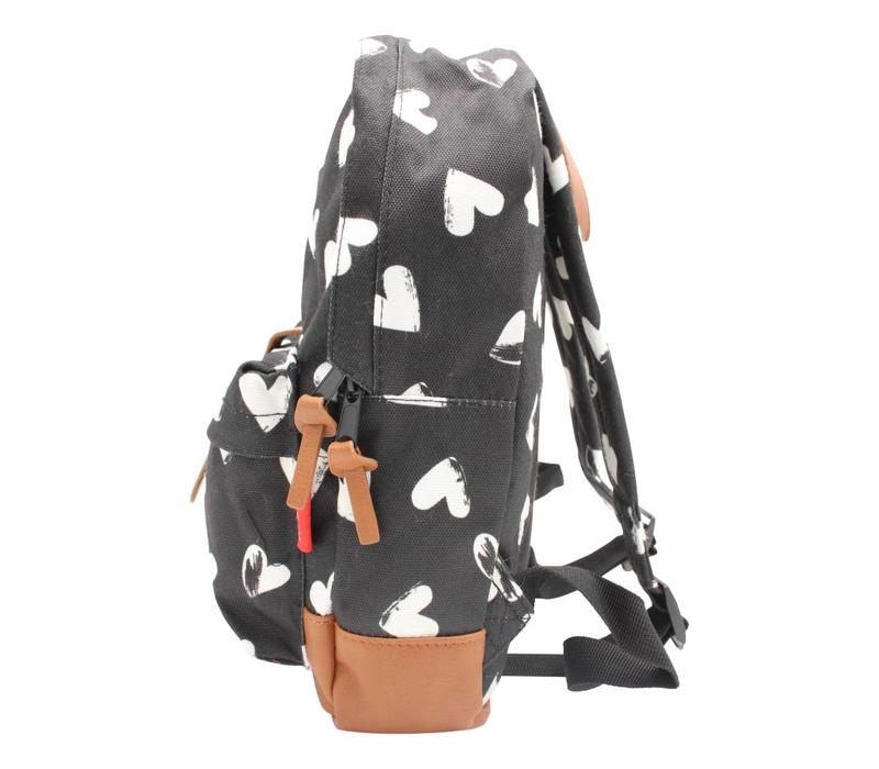 Backsack Kidzroom Black and White Hearts Black