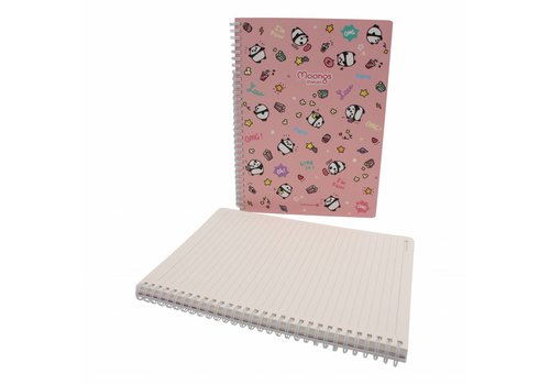 Moongs Moongs panda  large notebook - pink