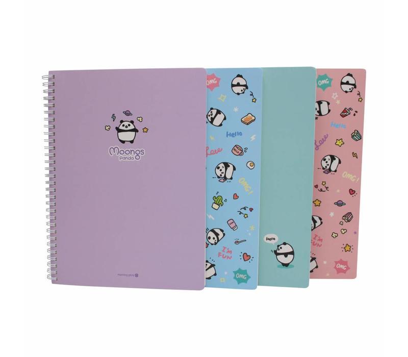 Moongs panda  large notebook - purple