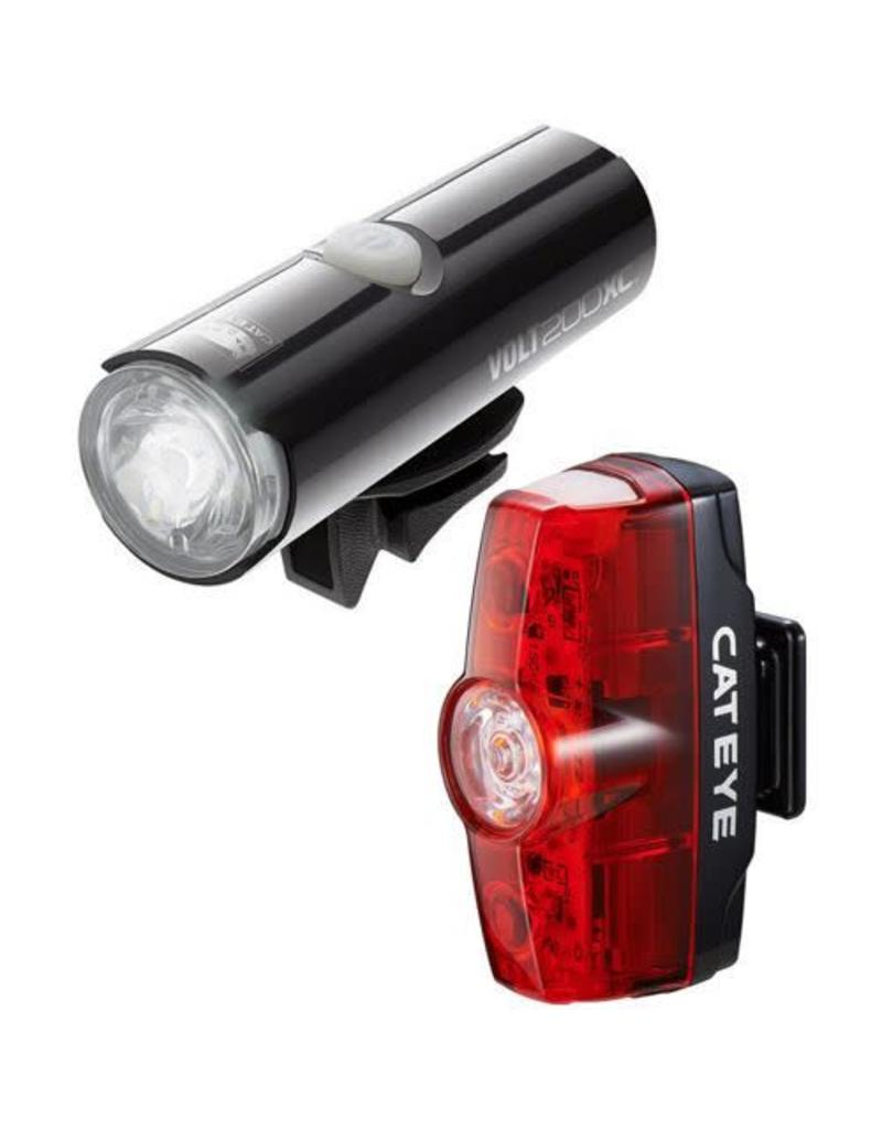 Cateye VOLT 400 XC FRONT LIGHT & RAPID MINI REAR USB RECHARGEABLE LIGHT SET: