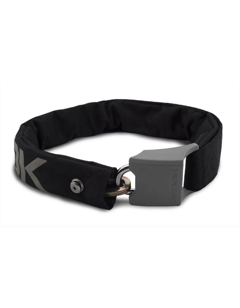 Hiplok ORIGINAL V1.5 WEARABLE CHAIN LOCK 8MM X 90CM - WAIST 24-44 INCHES (SILVER SOLD SECURE) BLACK/REFLECTIVE GREY