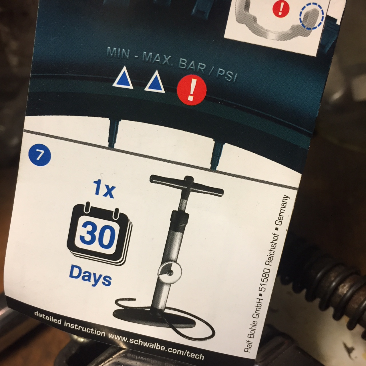 Schwalbe recommends pumping your tyres every 30 days
