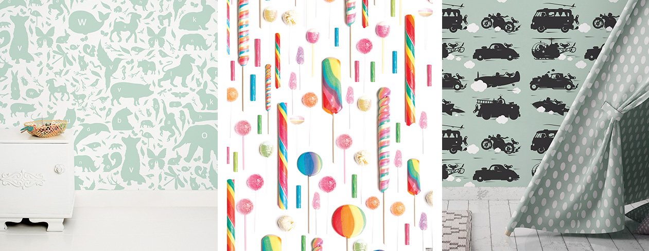 Wallpaper with sweet candy animal alphabet and wooden robots make a cozy childrens room