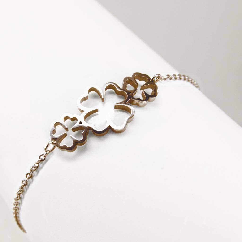 Armband mit 3 vierblättrigen Kleeblättern