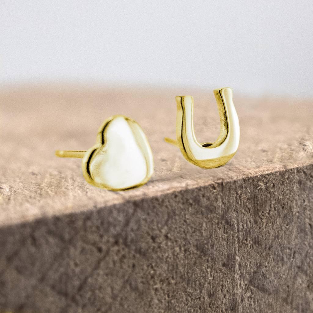 Ear studs horseshoe & heart