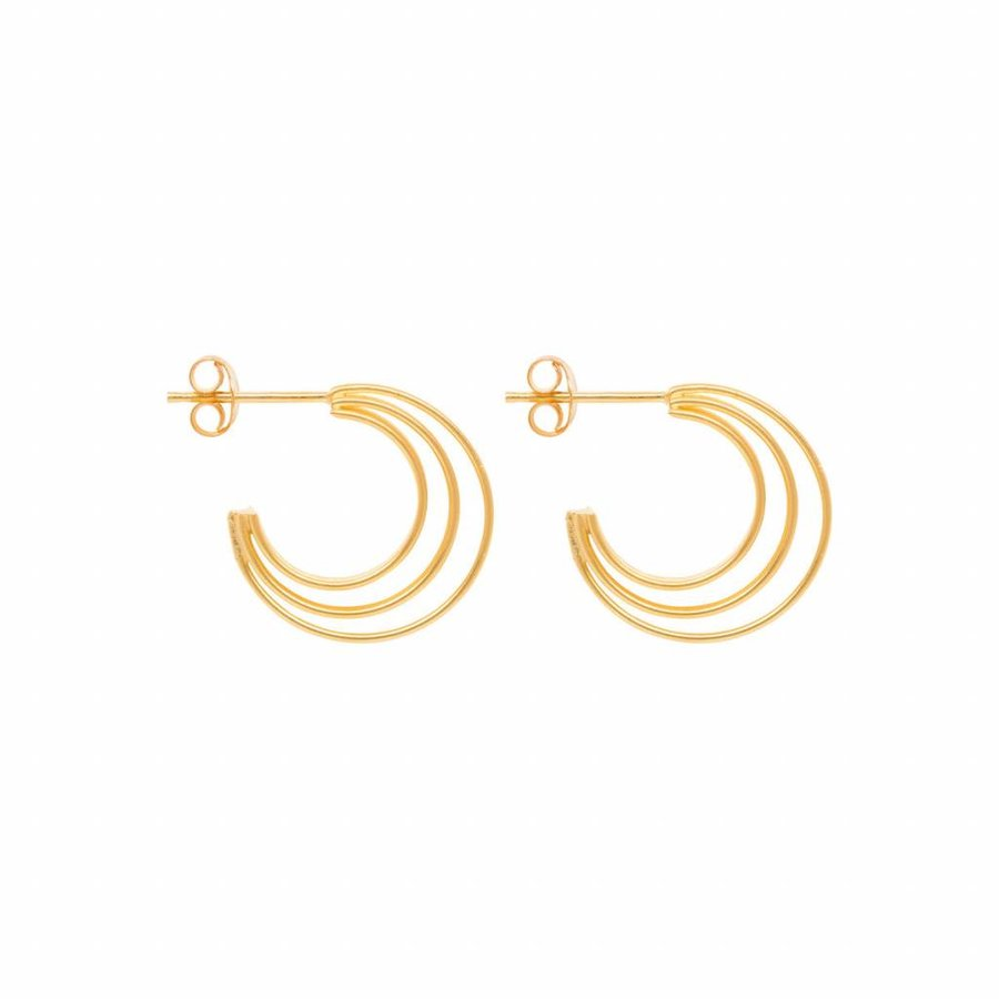 Crescent Hoops - Gold Plated