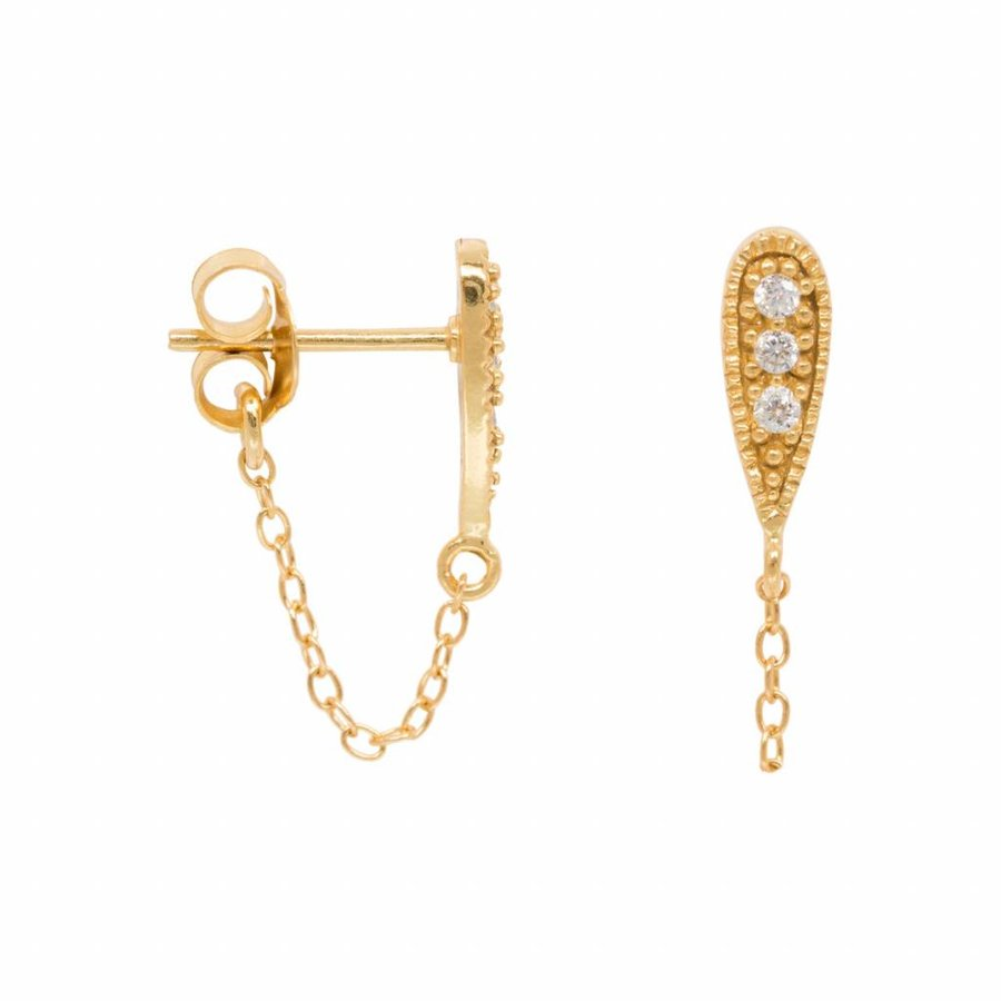 Zirconia Drop Chain Earring - Gold Plated