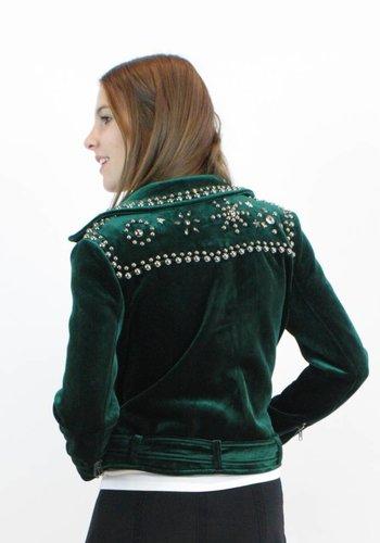 Velvet Biker Jacket - Emerald Green
