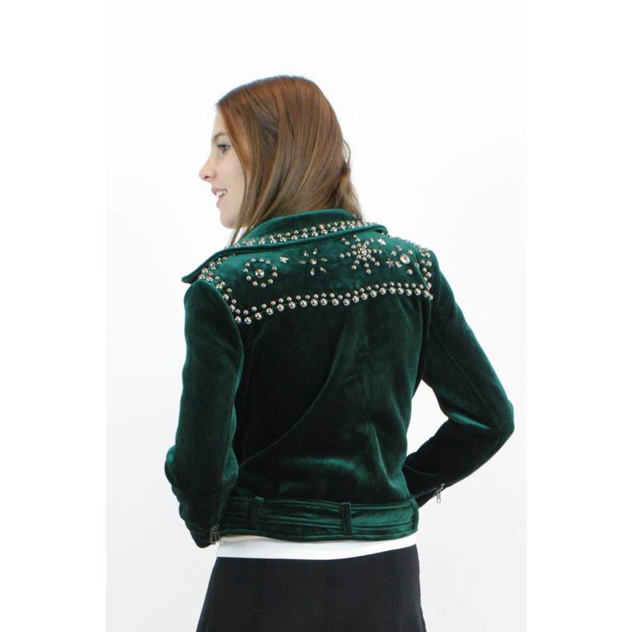 Velvet Biker Jacket - Emerald Green - Sincerely Valentine