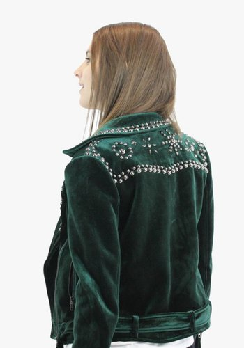 Velvet Biker Jacket - Emerald Green