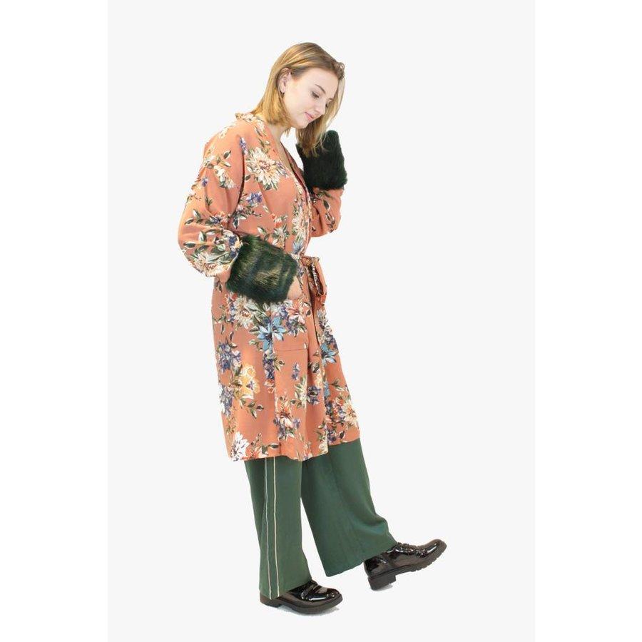 Japanese Printed Kimono with Faux Fur