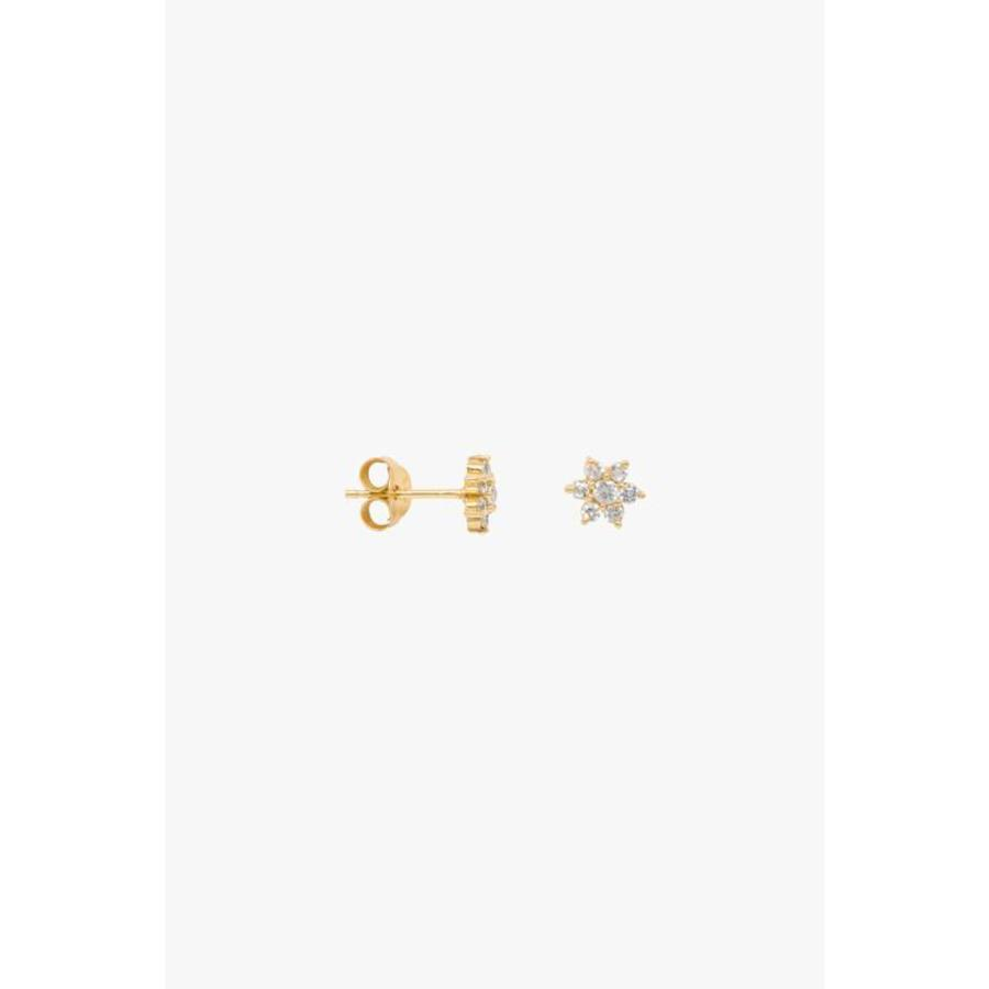 Zirconia Flower Earring - Gold Plated