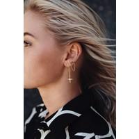 Double Cross Earrings - Gold Plated