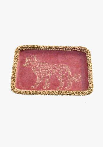 Embroidery Leopard Velvet Bowl - Pink