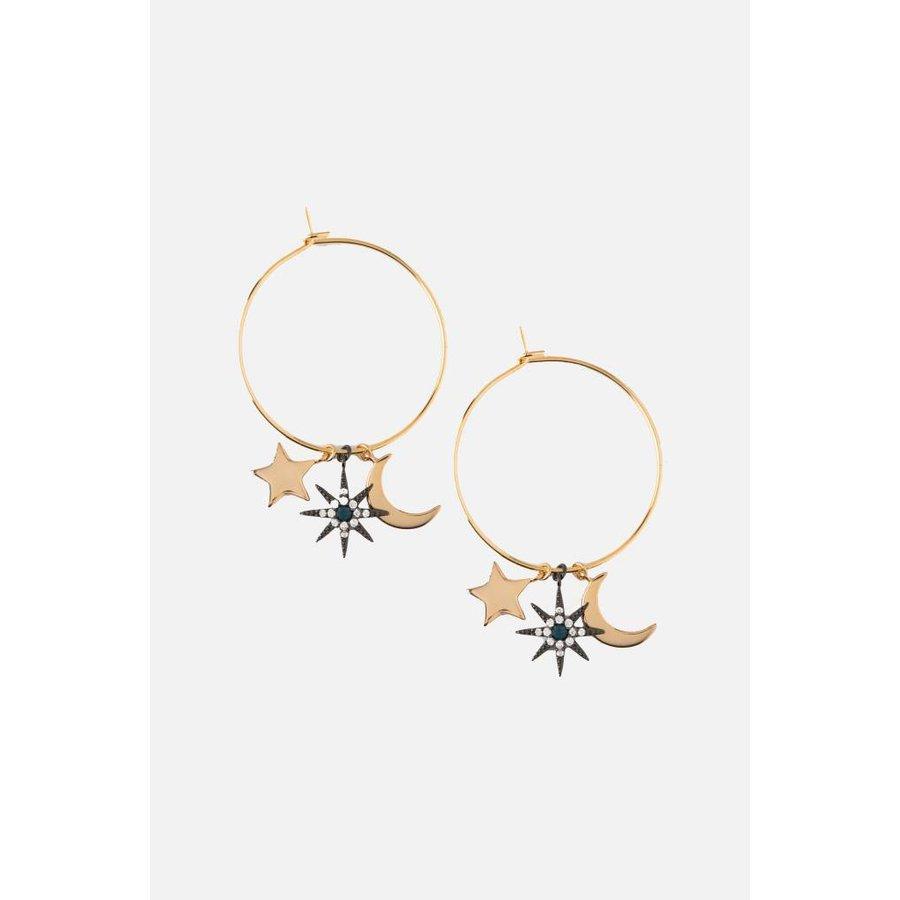 Moon & Star Charm Hoop Earrings