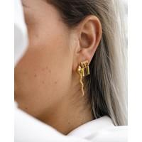 Triple Bar Zirconia Earring Gold