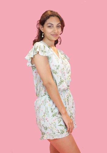 Floral Summer Playsuit - Mint