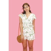 Floral Summer Playsuit - White