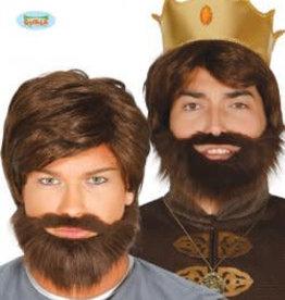 FIESTAS GUIRCA pruik bruin met baard