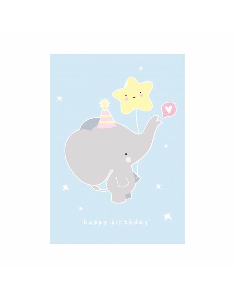 Postkaart Happy Birthday olifant