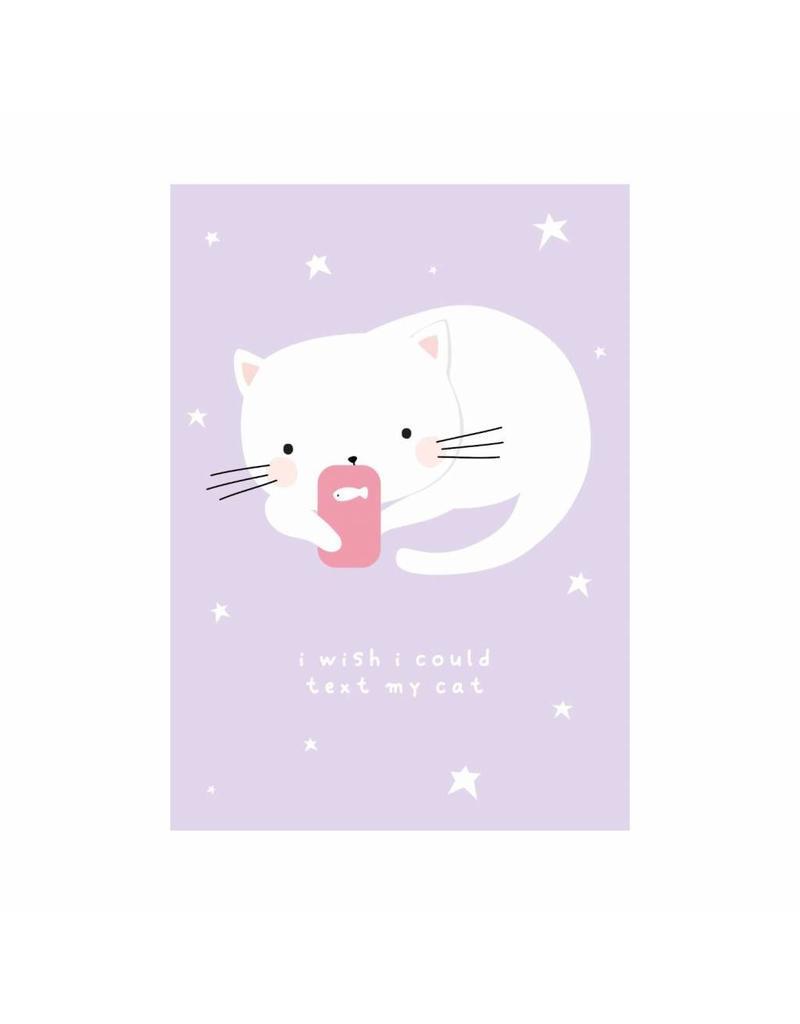 Postkaart texting cat