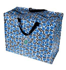 XL zak blauwe bloemen