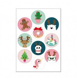 Stickers kawaii kerst